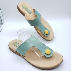 Korks leather yellow button blue strap thong flips